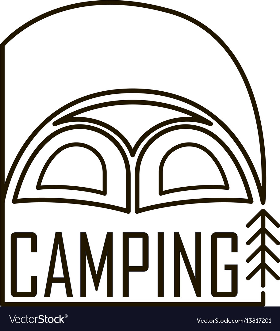 Logo for the camping tent emblem with a flag in a vector image