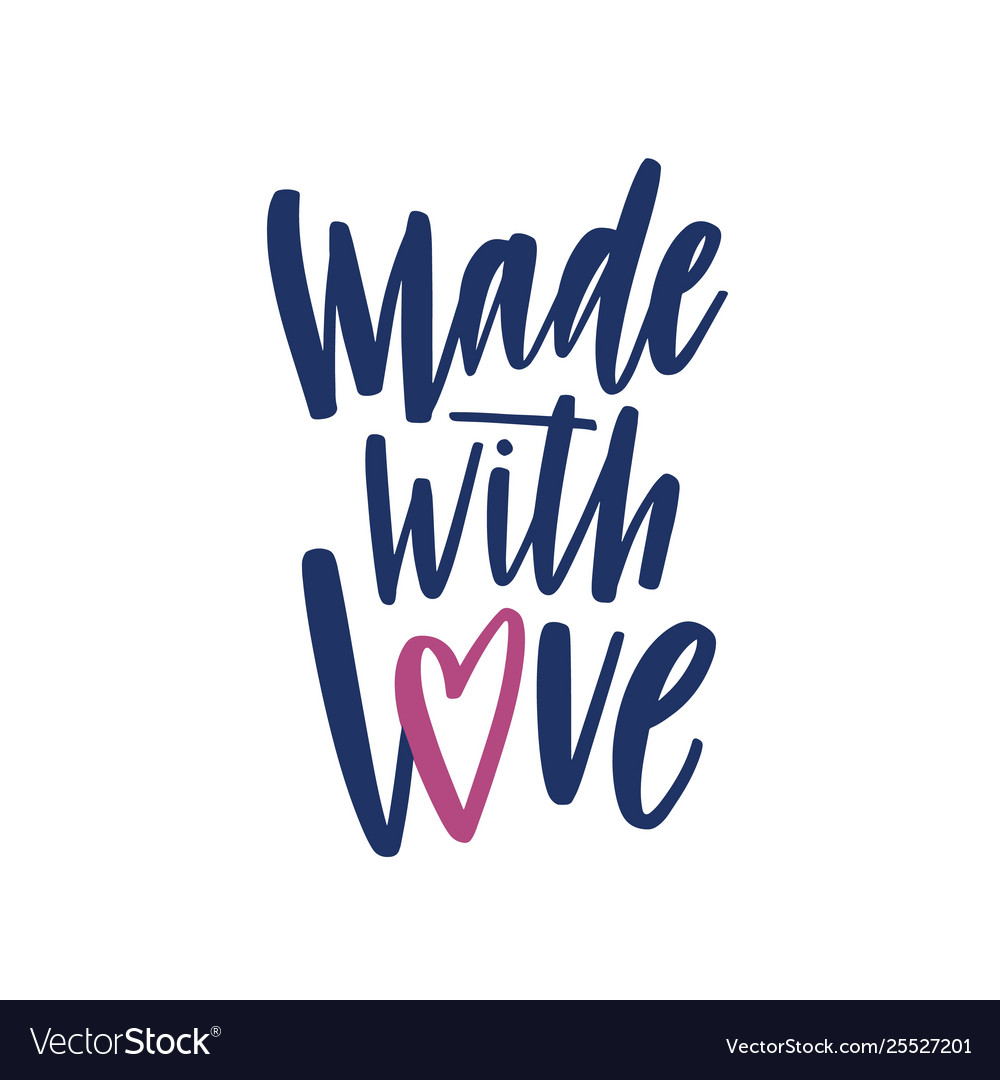 Made with love elegant lettering for labels or