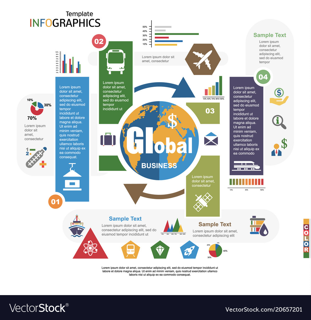 Modern infographics template global business
