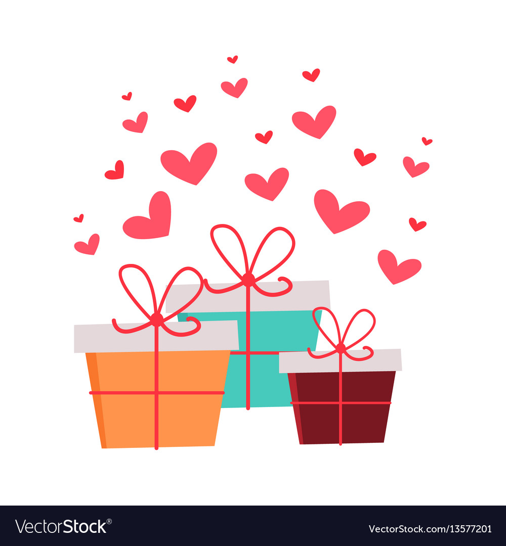 Present boxes with hearts valentines day concept