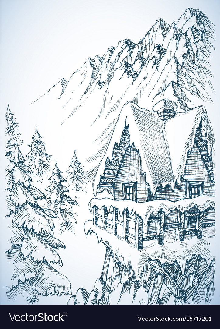 Refuge In The Mountains Winter Cabin Royalty Free Vector