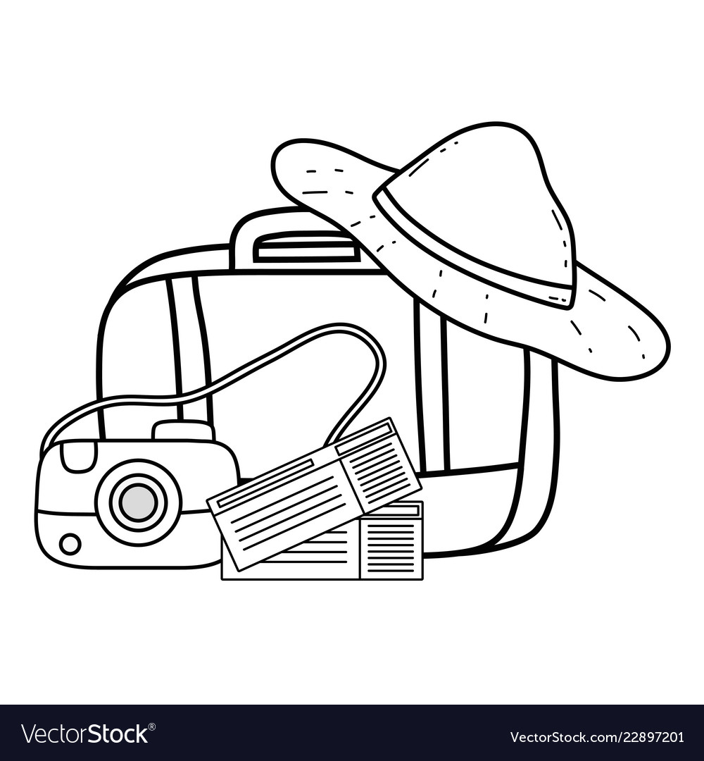 Suitcase travel with hat and camera
