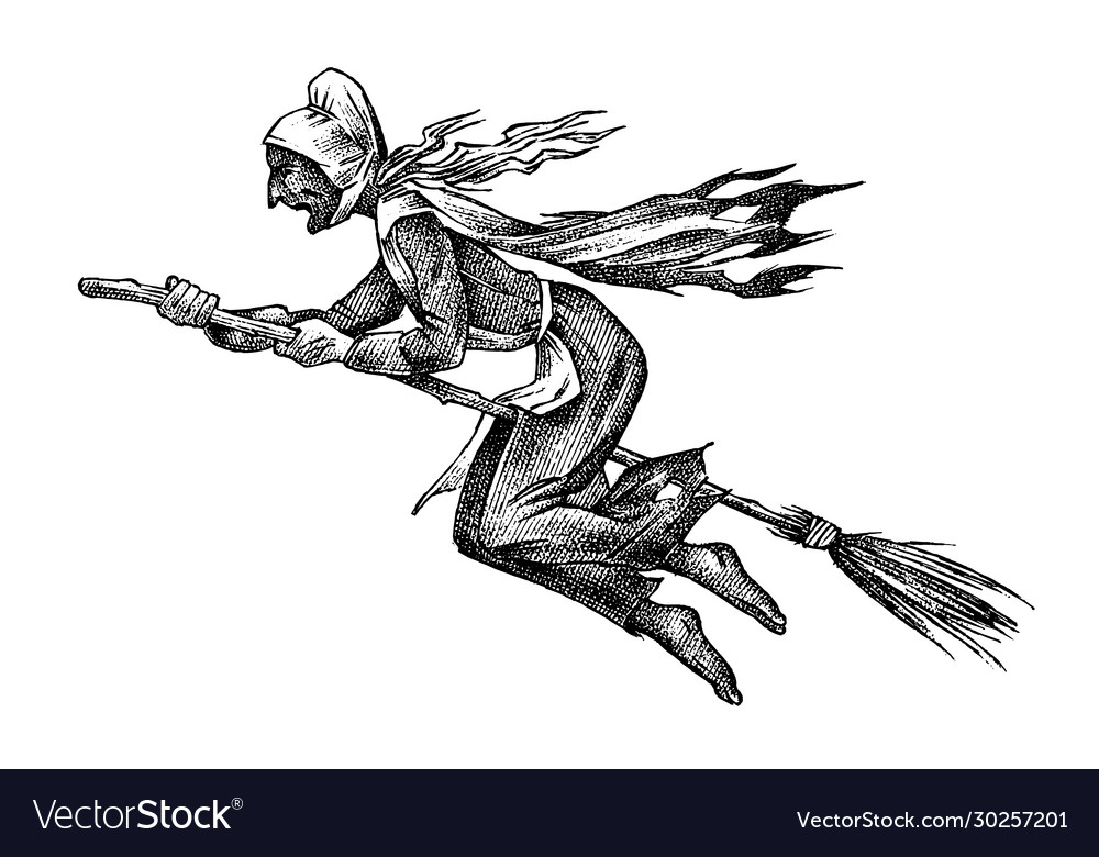 Witch flies on a broomstick ancient mythical