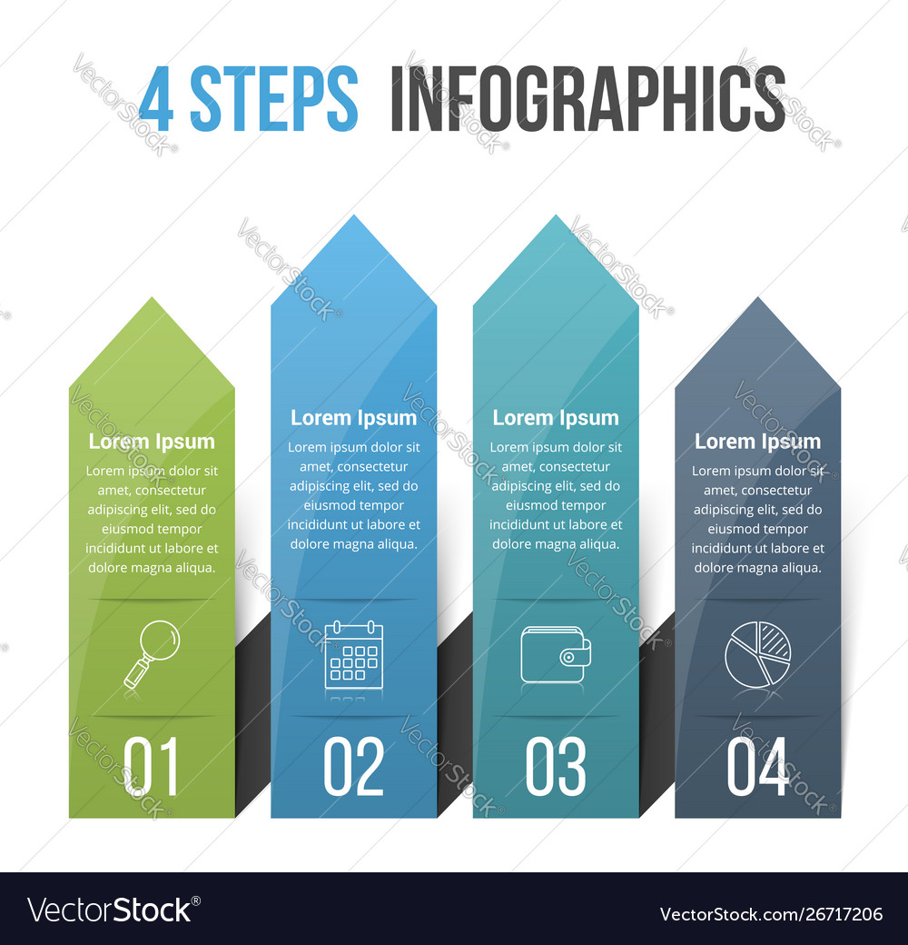 4 steps infographics with arrows