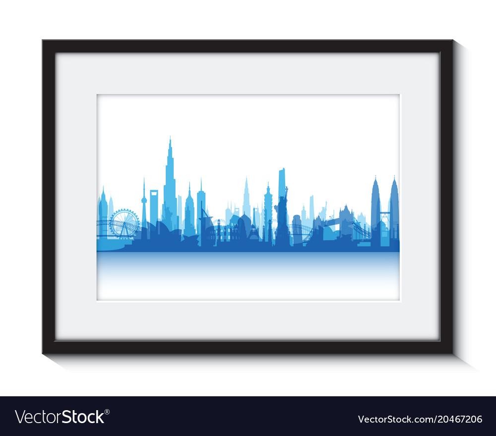 Blue cityscape boarder vector image