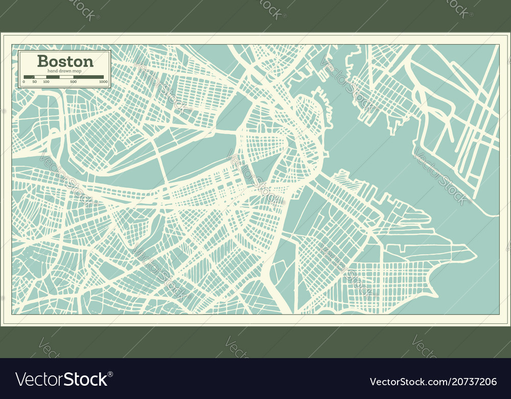 Boston usa city map in retro style outline map Vector Image
