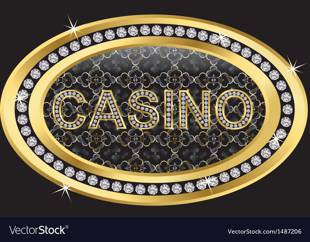 Casino gold sign with diamonds