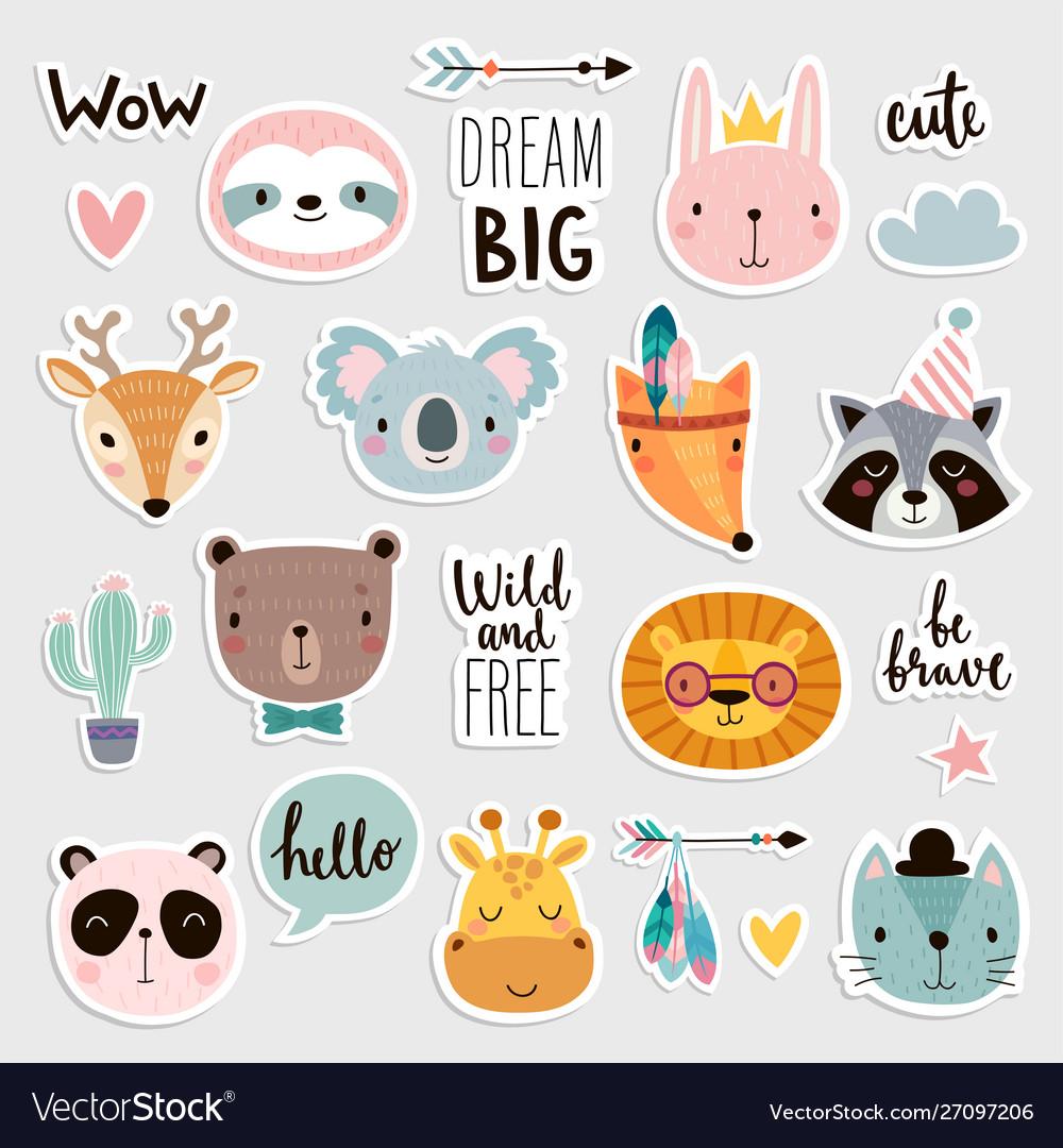 Cute boho animals set hand drawn characters