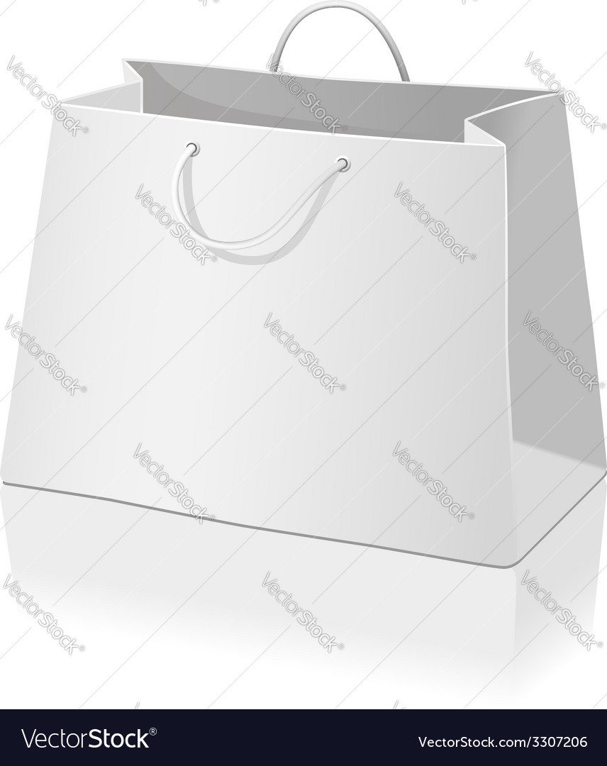 Empty paper shopping bag isolated on white