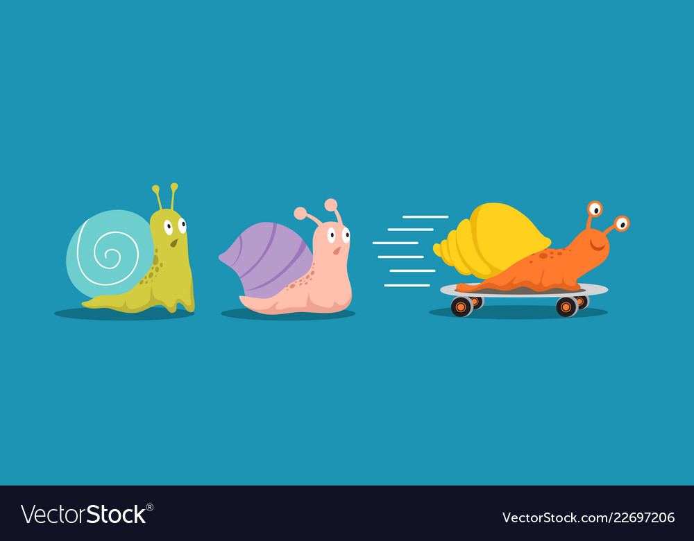 Fast and slow snails snail with wheels overtakes