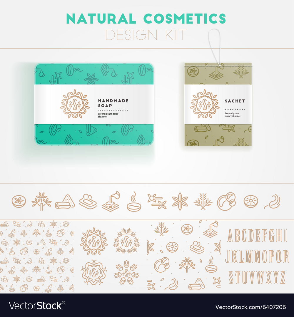 Natural cosmetics design kit vector image