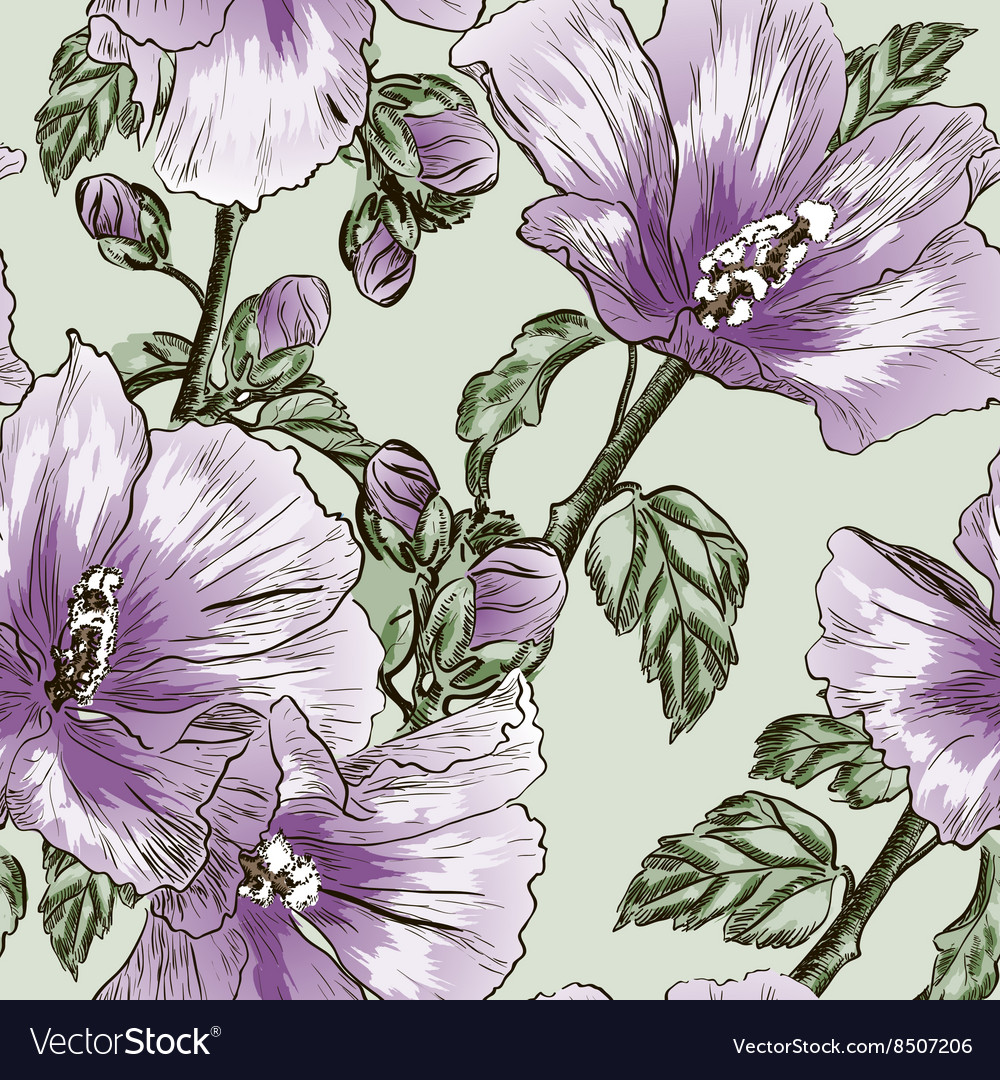 Purple Seamless Floral Background With Hibiscus Vector Image