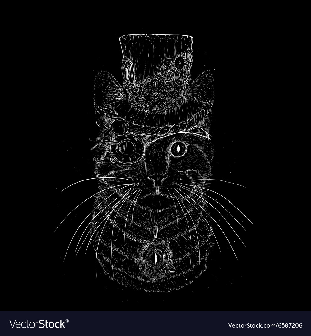 Steampunk Cat Vintage Style Royalty Free Vector Image