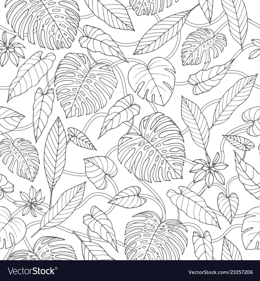Tropical seamless pattern with lianas monstera