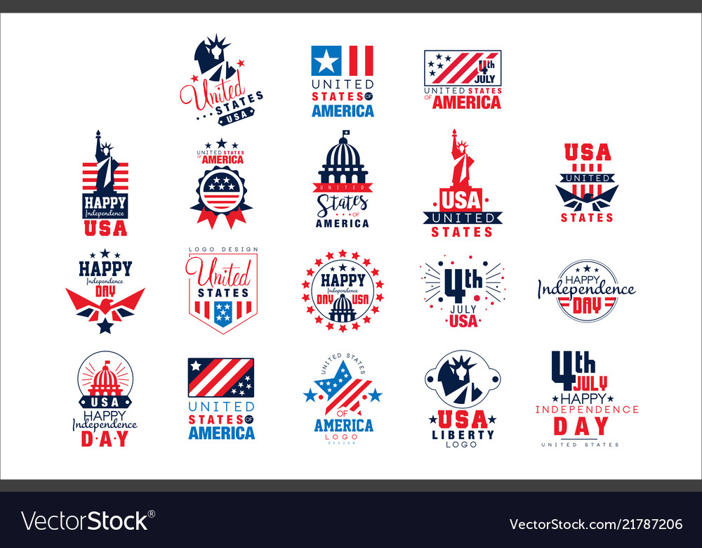 United states america logo templates set happy vector