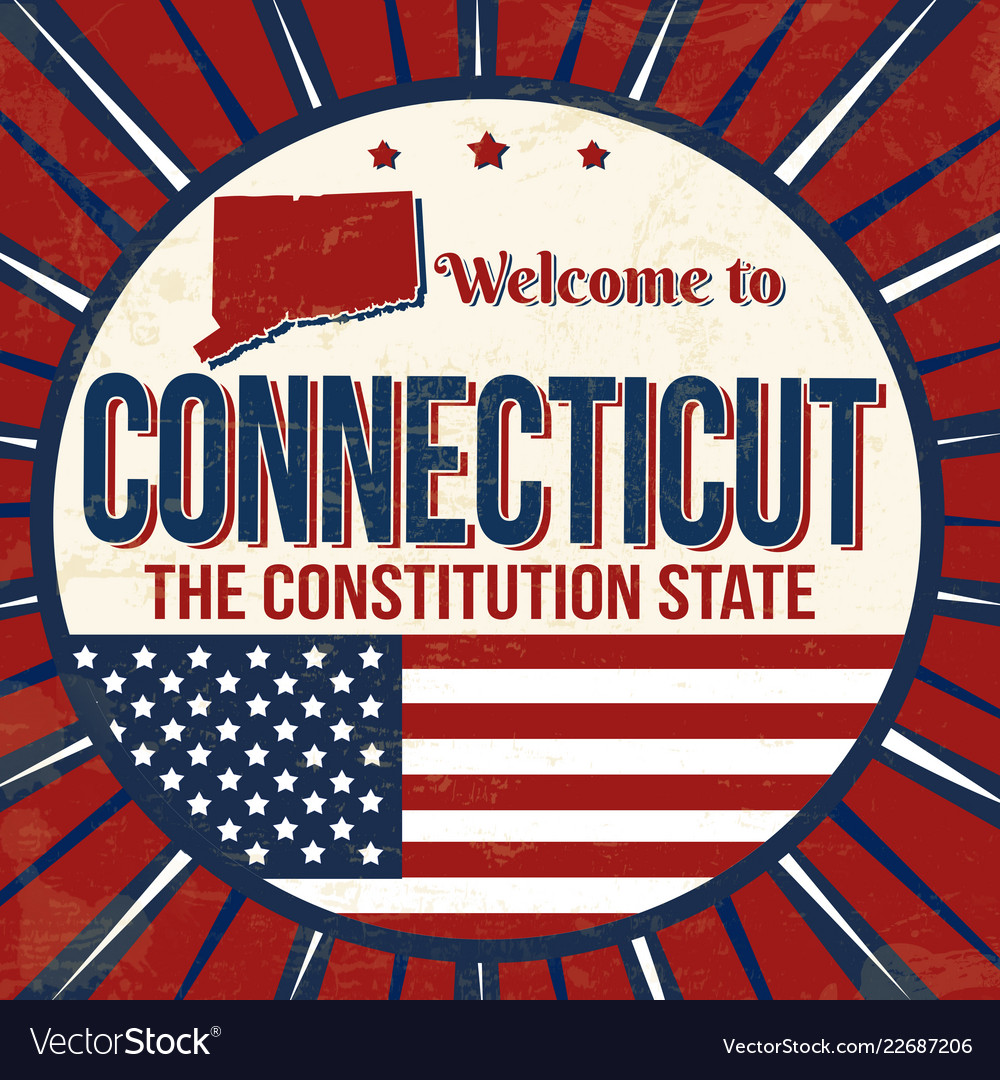 Welcome to connecticut vintage grunge poster