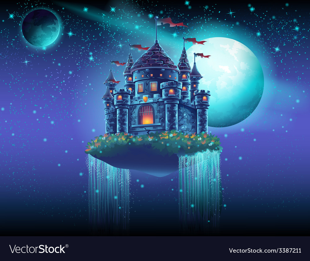 A flying castle space with waterfalls on the vector image