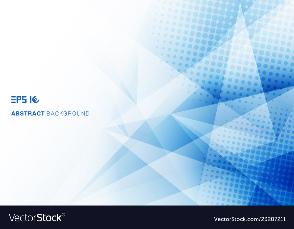 Abstract low poly blue triangles polygon and