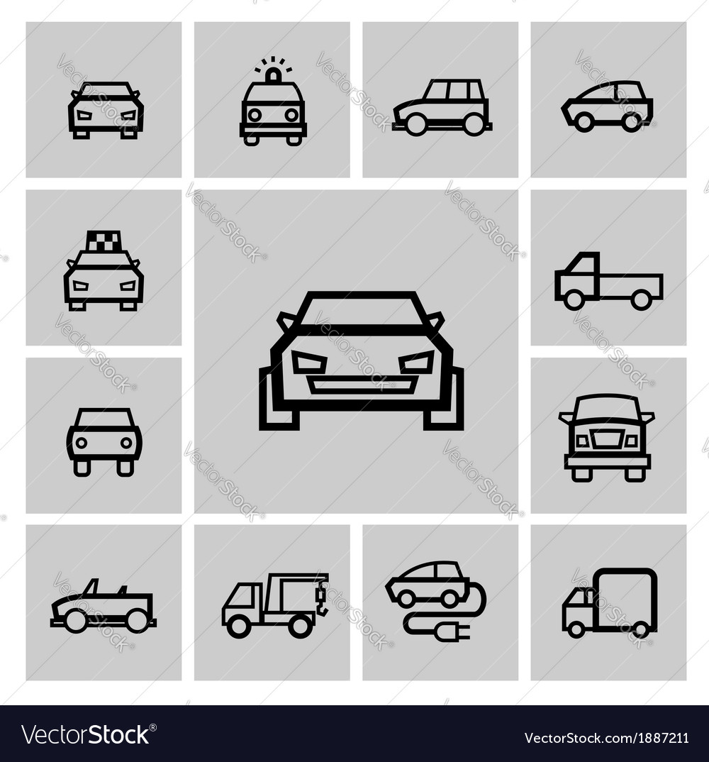 Black auto icon set