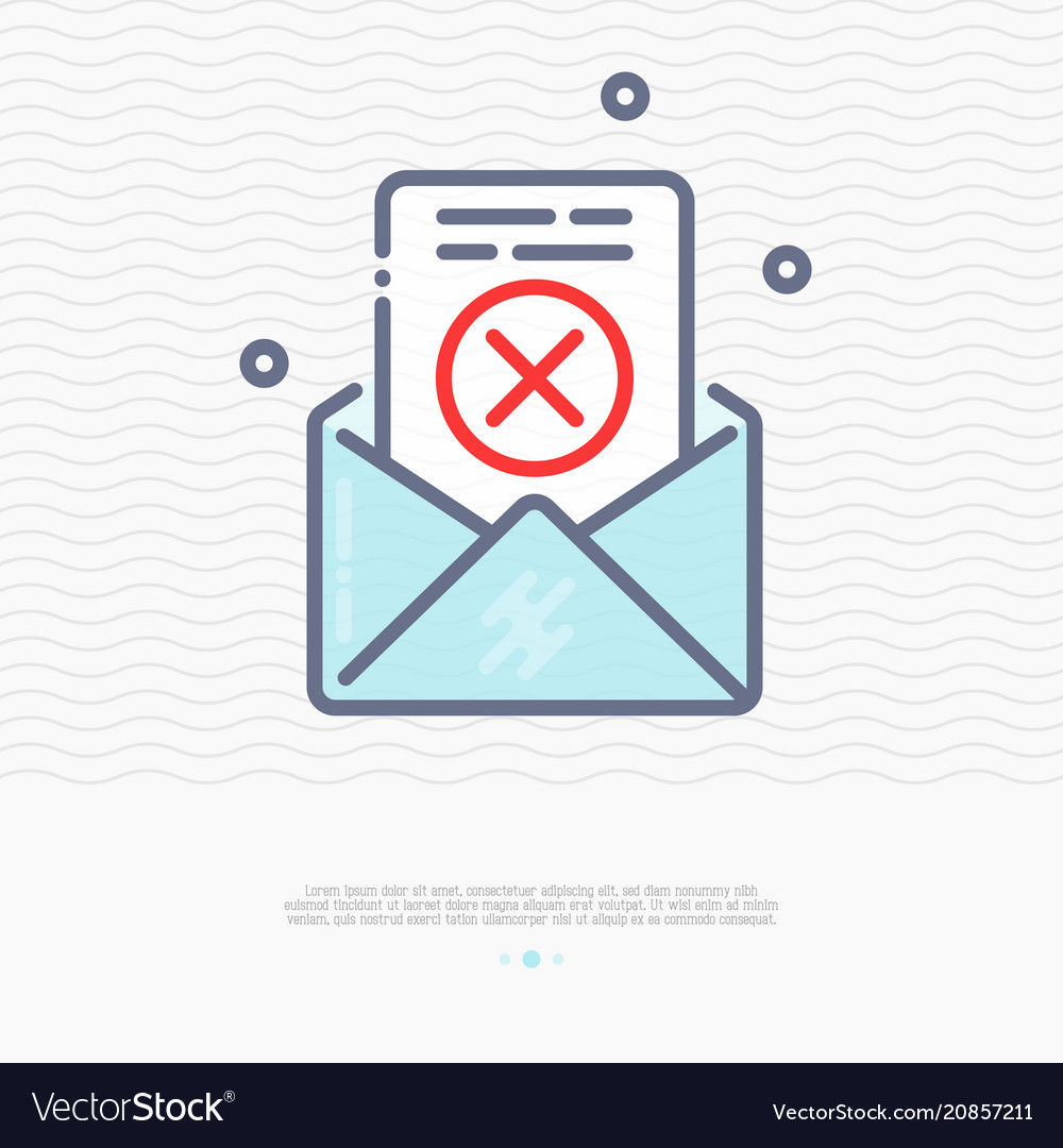 Envelope with rejected document thin line icon