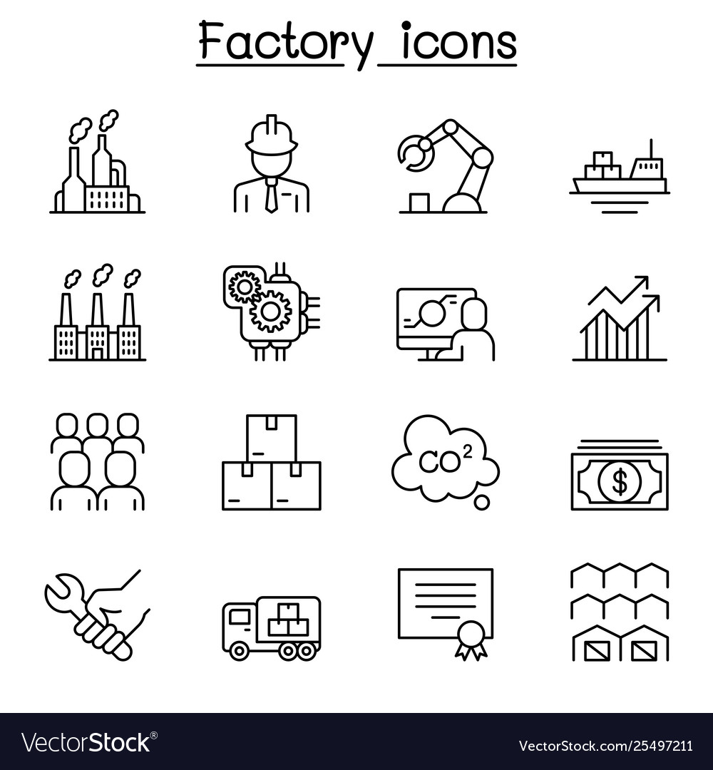 Factory industrial building manufacturing icon