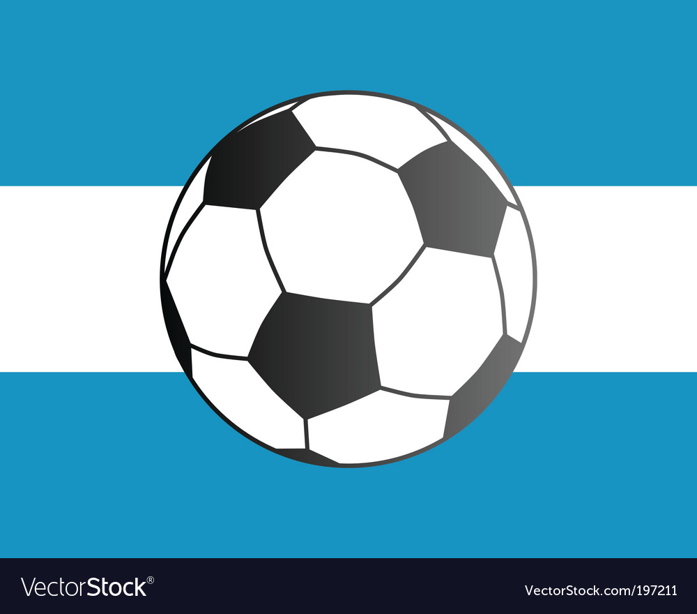 Flag of Argentina and soccer ball vector image
