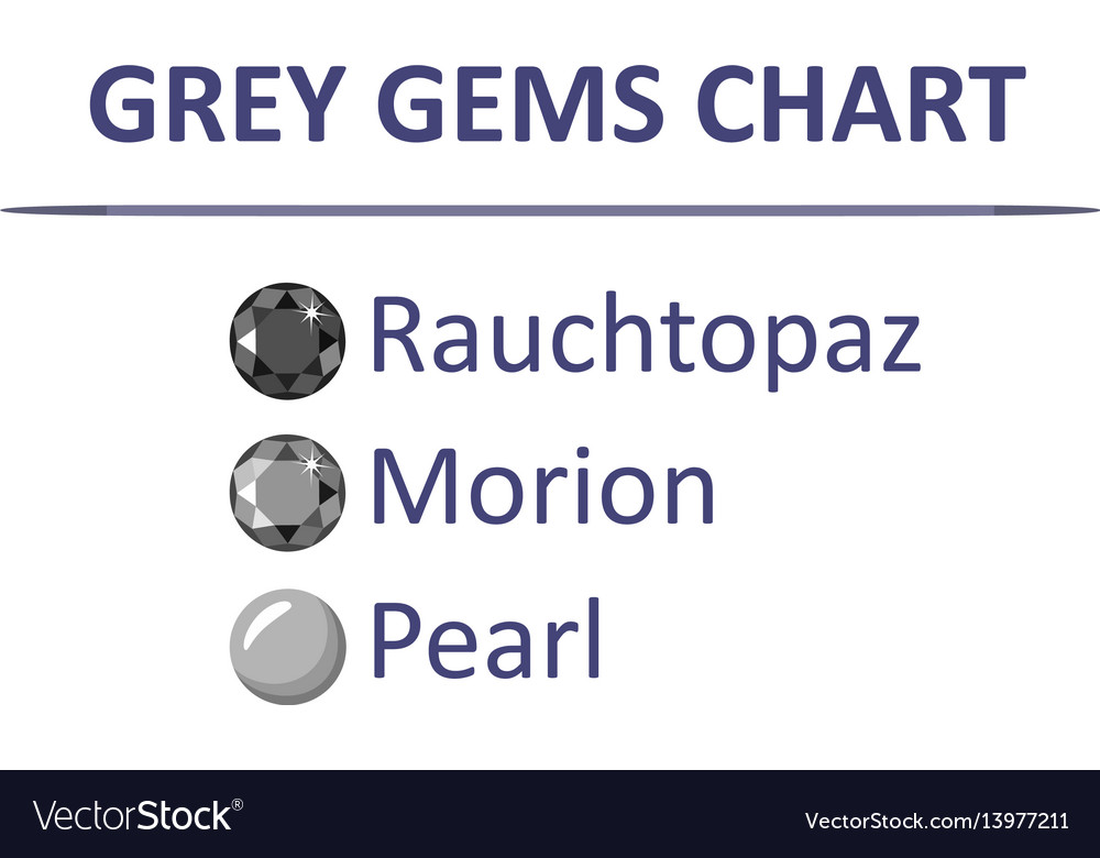 Gems Grey Color Chart Royalty Free Vector Image