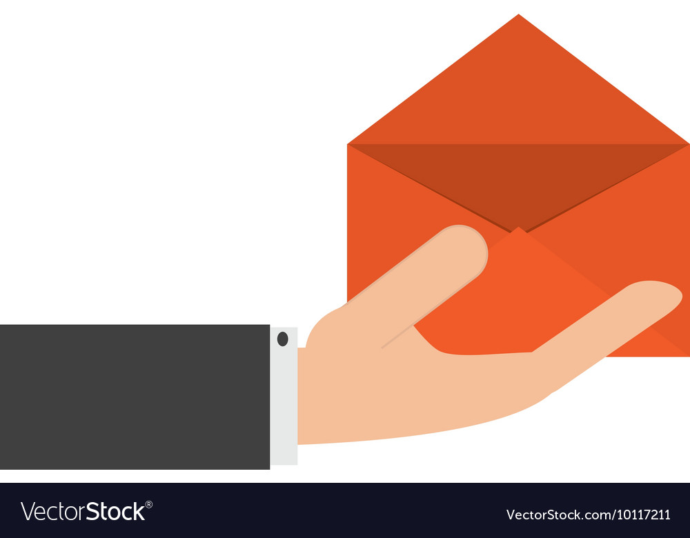 Hand holding open envelope icon