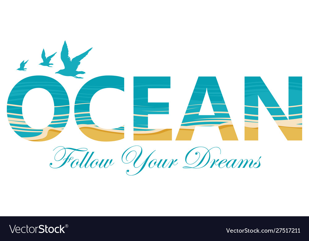 Lettering ocean with seagulls and coastline