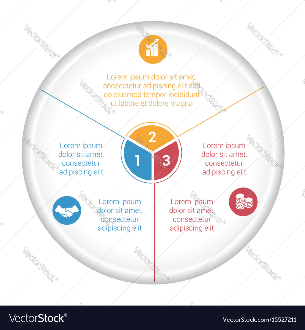 Pie Chart Diagram Data 3 Options For Text Area Vector Image