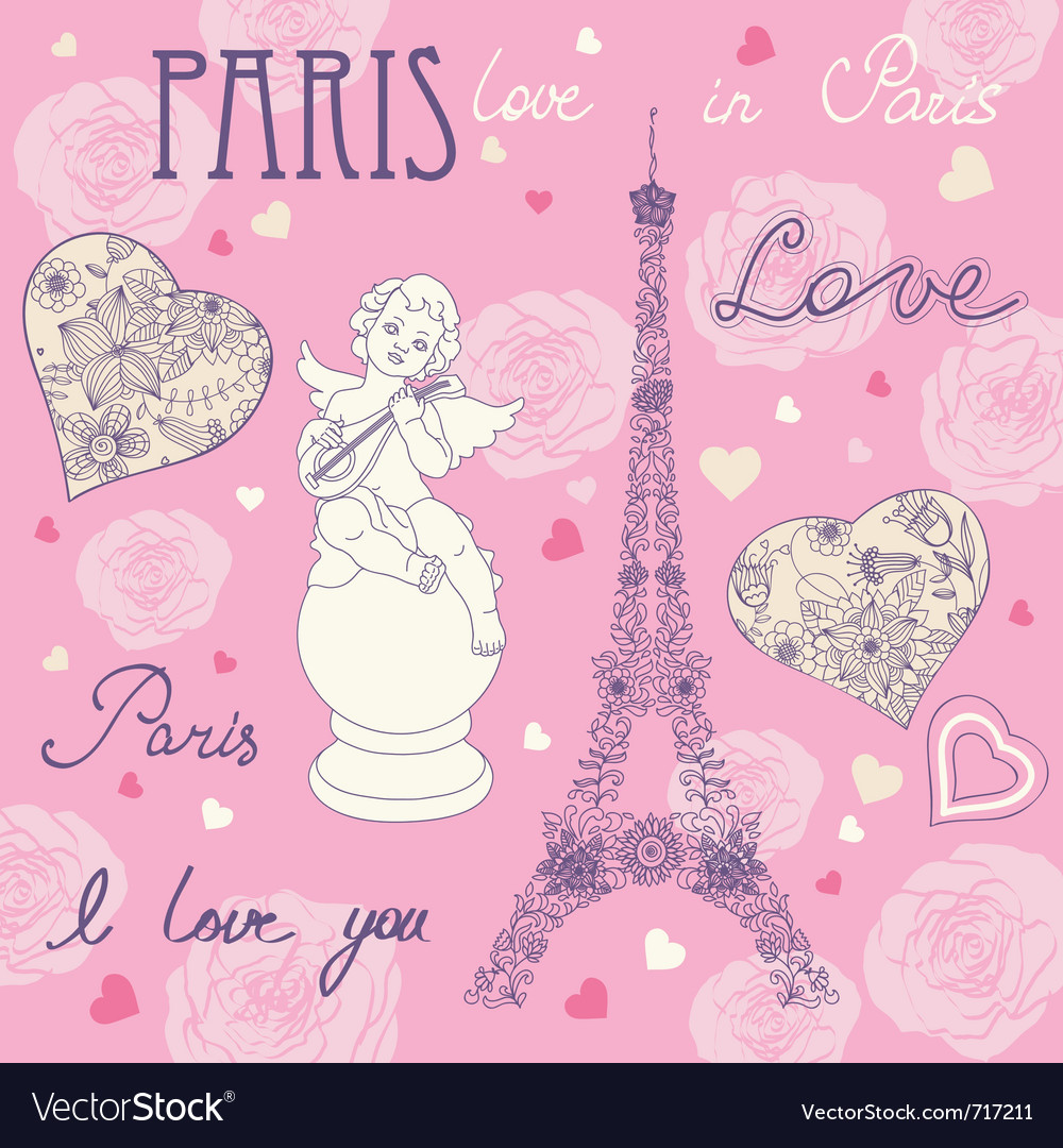 Set of different romantic symbols vector image
