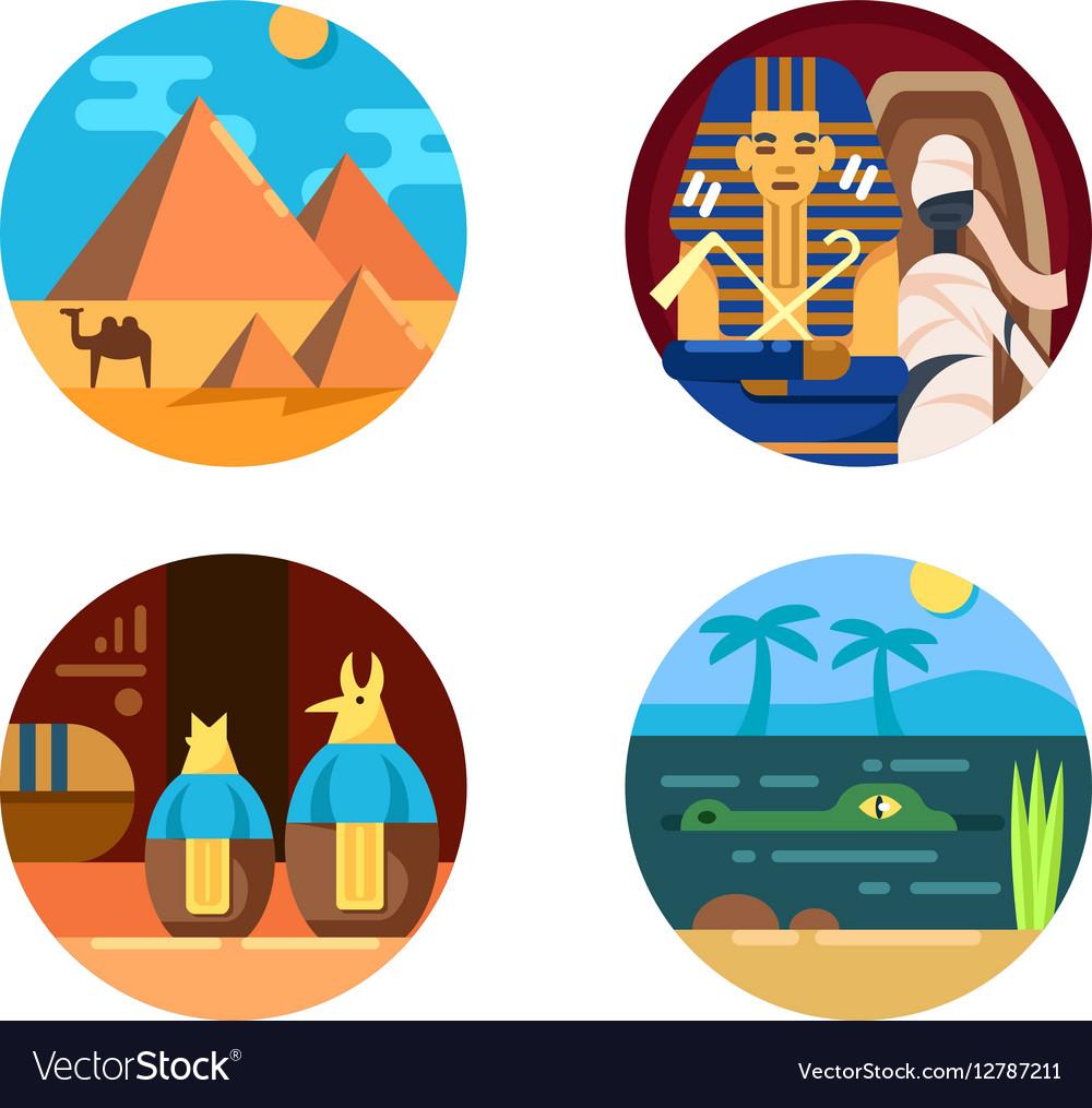 Travel to Egypt set of icons
