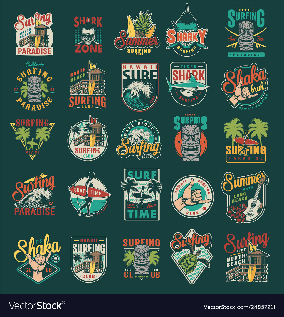 Vintage summer surfing labels set