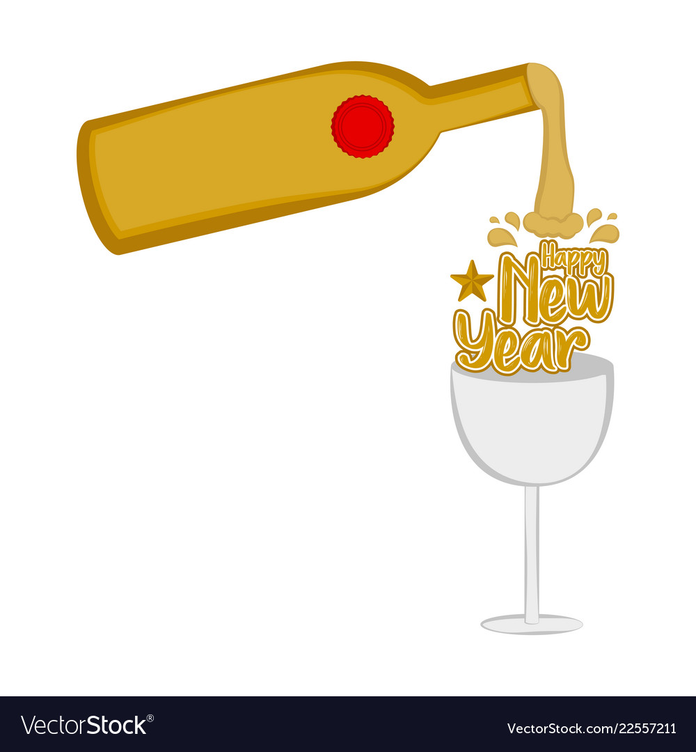 wine bottle and a glass happy new year vector image