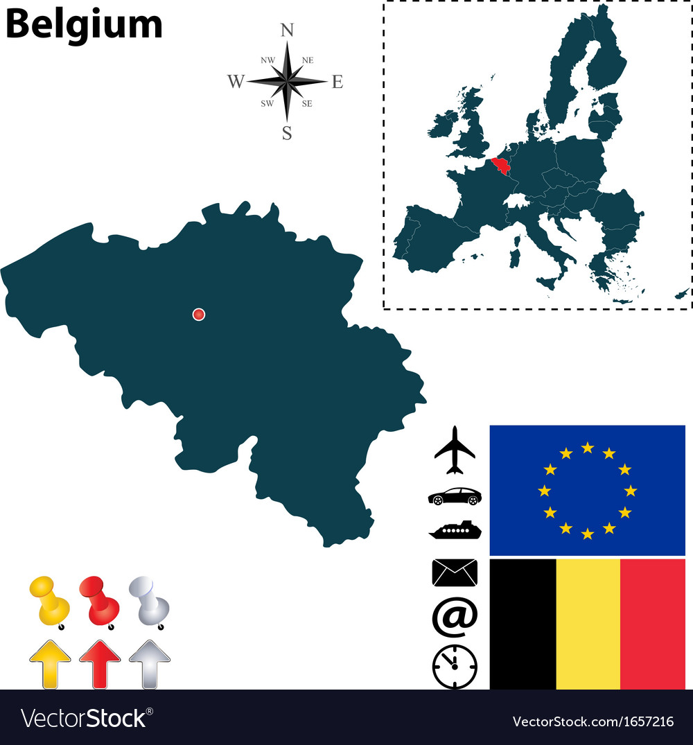 Belgium And European Union Map Royalty Free Vector Image
