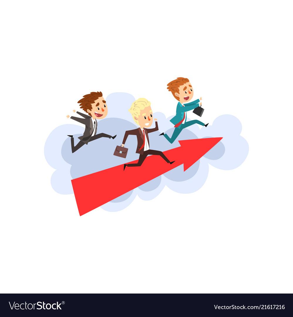 Businessmen running together on big arrow in
