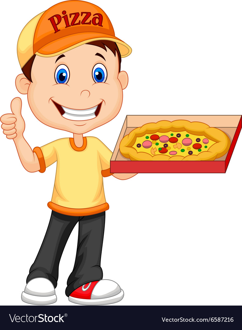 Cartoon deliver boy with pizza isolated