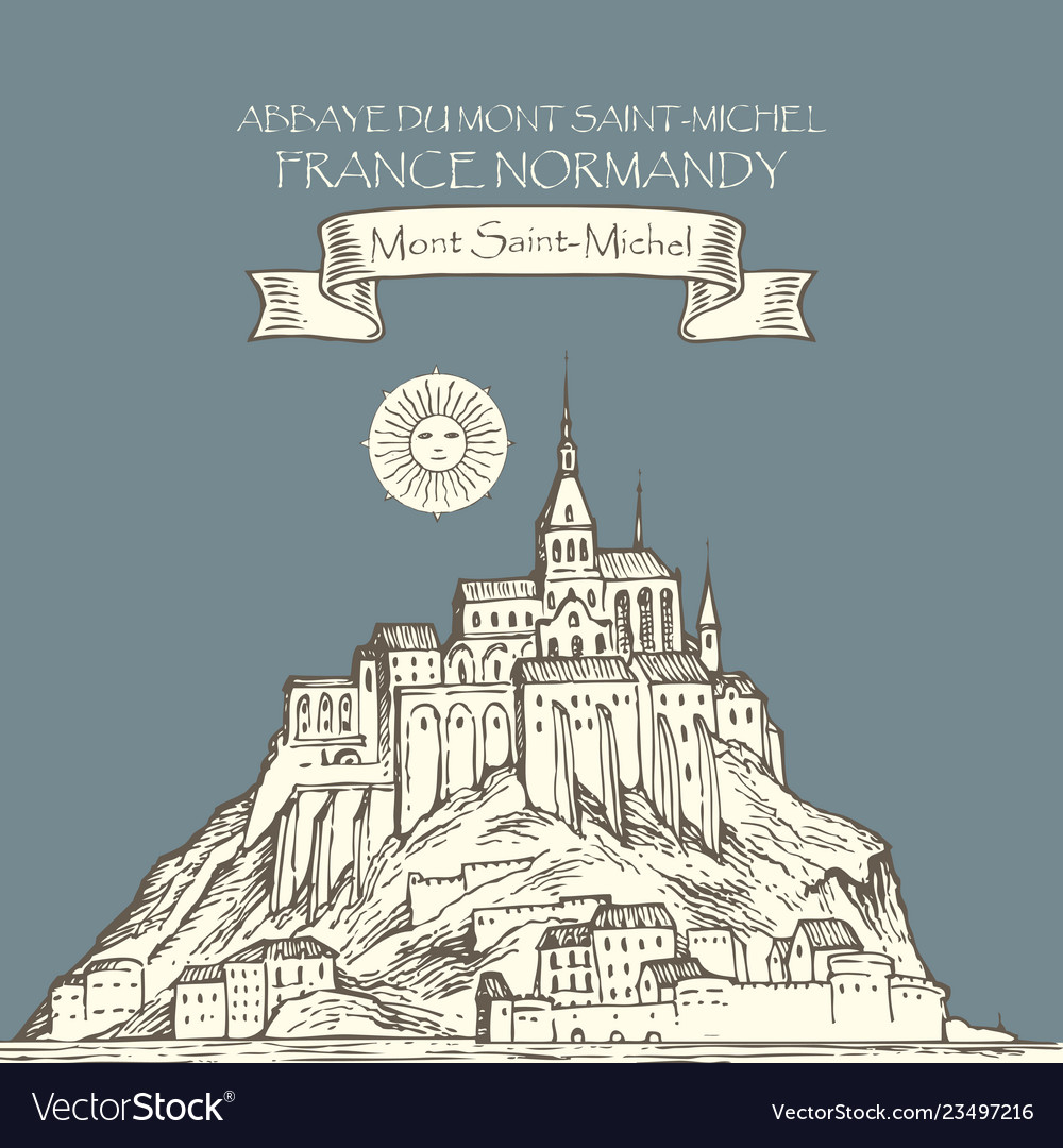 Drawing of mont saint michel france