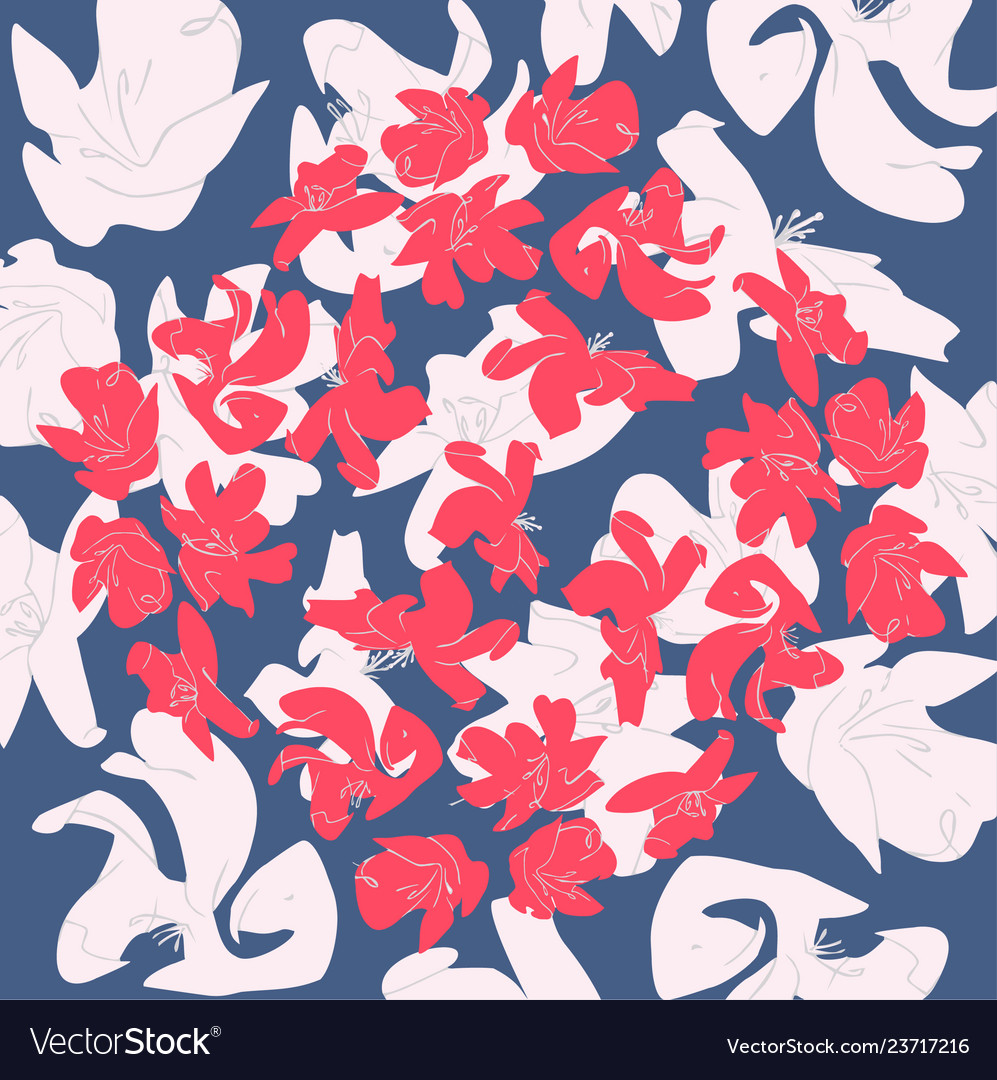 Flowers colors of a living coral pantone pattern