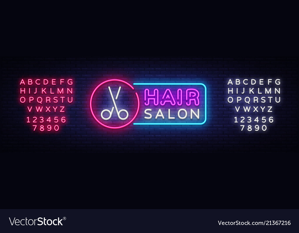 Hair salon neon sign hairdress design