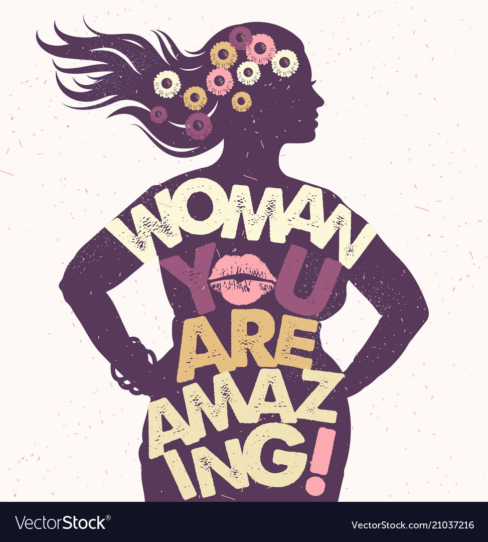 Hand drawn typography poster woman you are