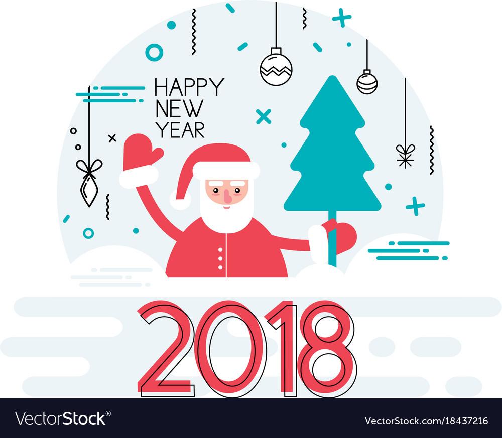 Happy new year 2018 year with ribbon and santa vector image