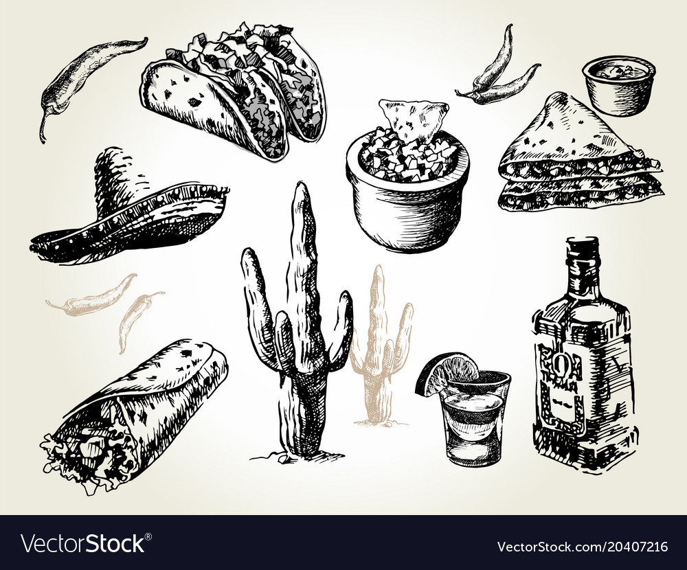 Mexican food set vector image