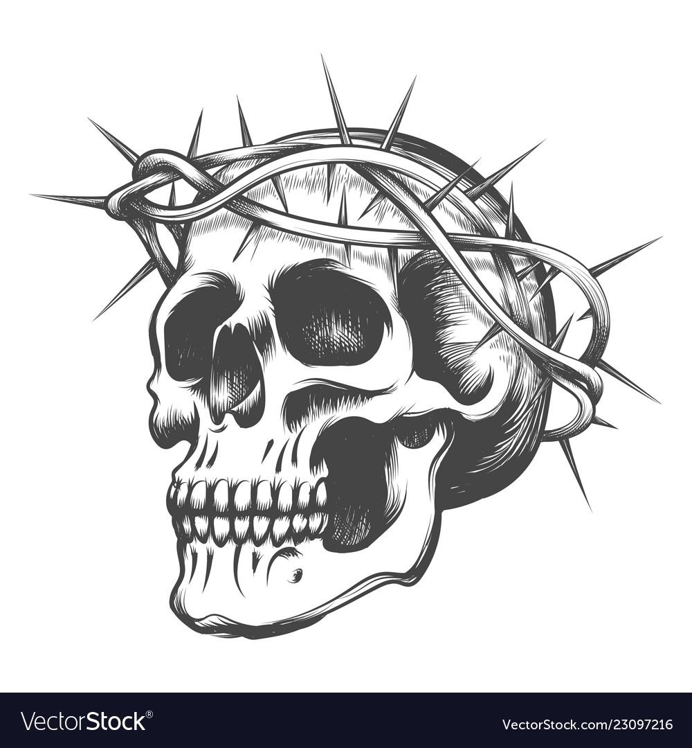 Skull in thorns wreath