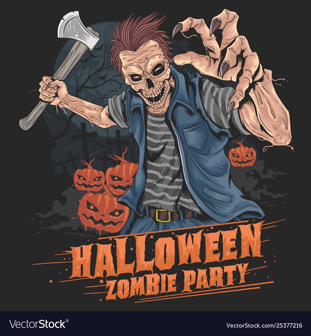 Zombie halloween party pumpkin element