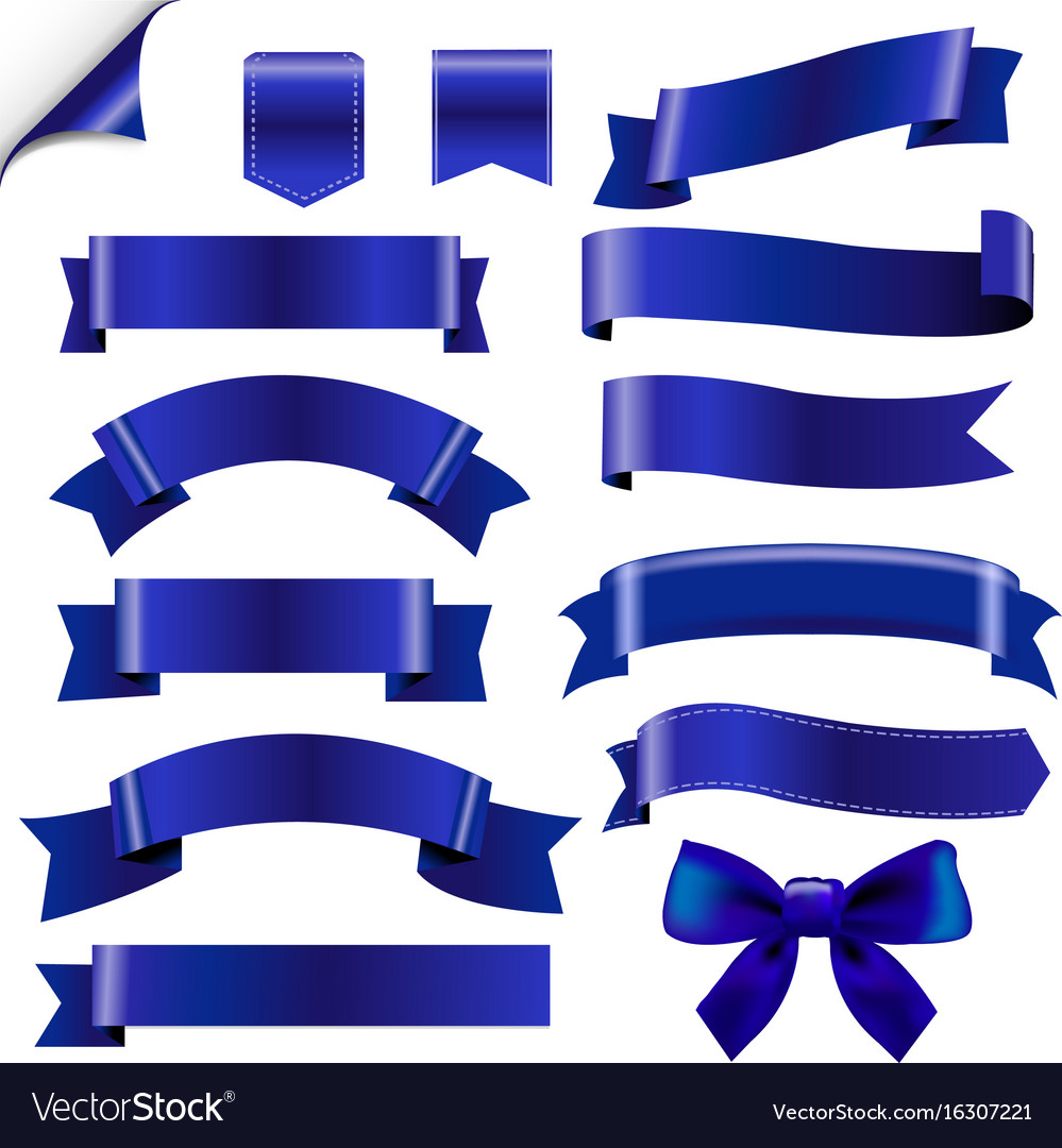 Big blue ribbons set vector image