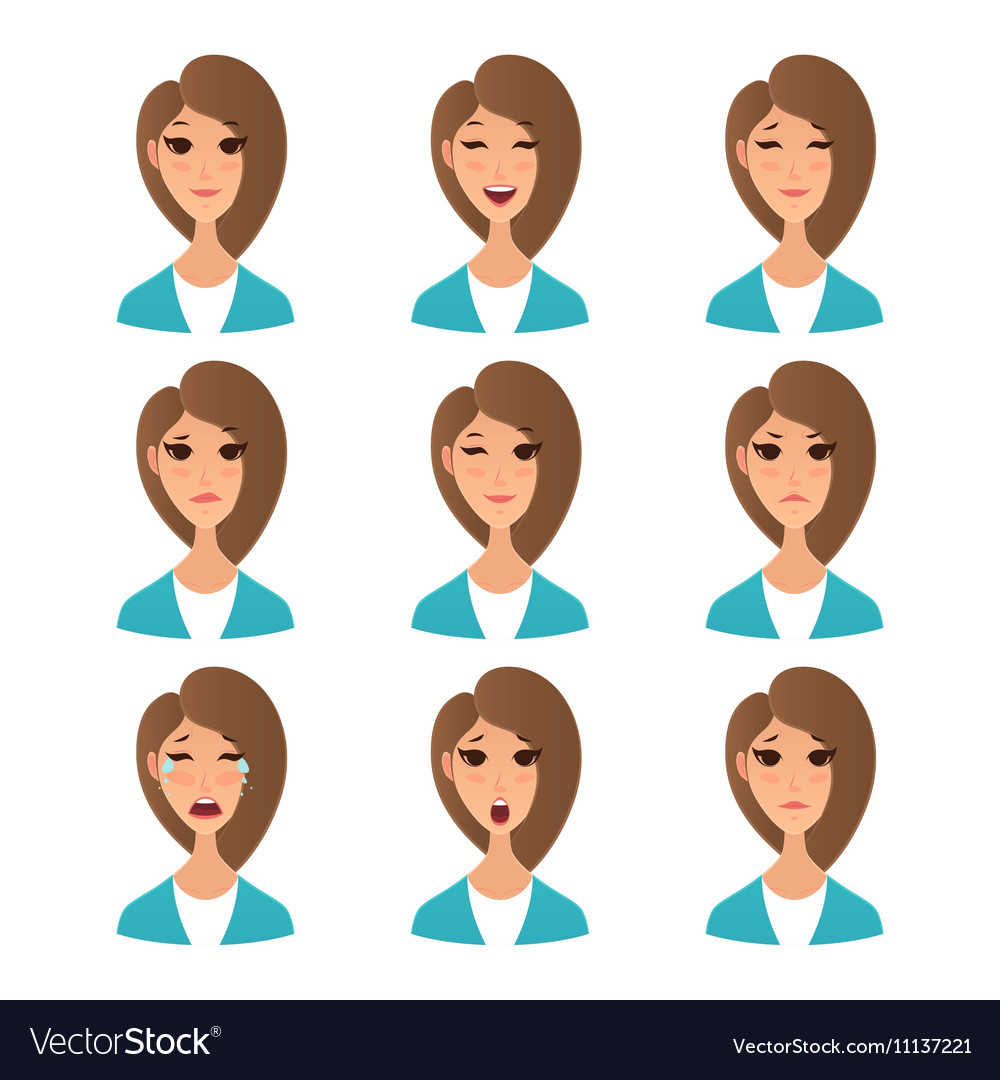 cartoon girl emotion faces royalty free vector image