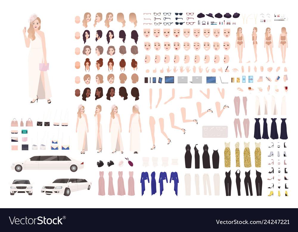 Fashionable celebrity woman animation set or diy Vector Image