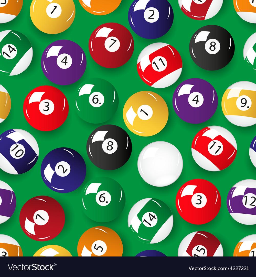 Set of color billiards balls seamless pattern
