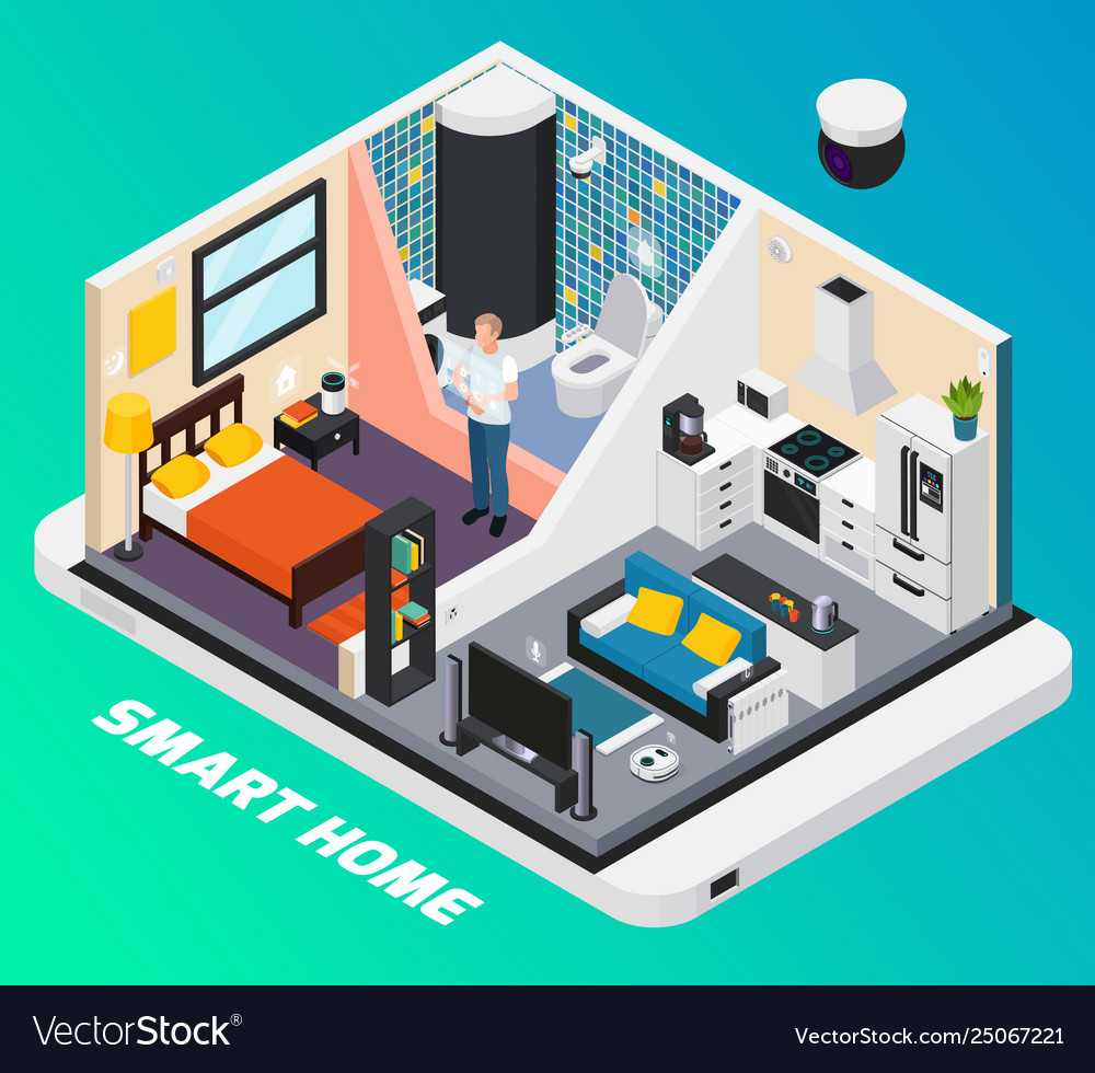Smart home isometric composition